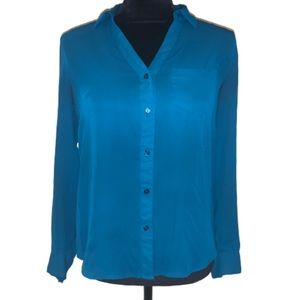 The limited turquoise silky long sleeve blouse top